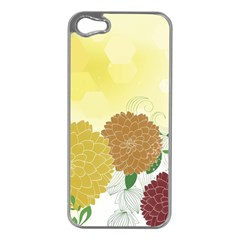 Abstract Flowers Sunflower Gold Red Brown Green Floral Leaf Frame Apple iPhone 5 Case (Silver)