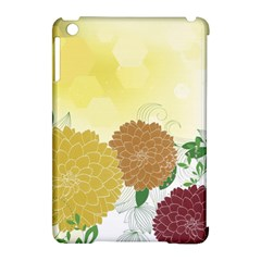 Abstract Flowers Sunflower Gold Red Brown Green Floral Leaf Frame Apple iPad Mini Hardshell Case (Compatible with Smart Cover)
