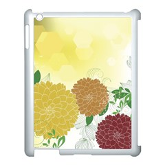 Abstract Flowers Sunflower Gold Red Brown Green Floral Leaf Frame Apple iPad 3/4 Case (White)