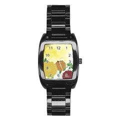 Abstract Flowers Sunflower Gold Red Brown Green Floral Leaf Frame Stainless Steel Barrel Watch