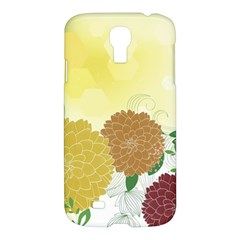 Abstract Flowers Sunflower Gold Red Brown Green Floral Leaf Frame Samsung Galaxy S4 I9500/I9505 Hardshell Case