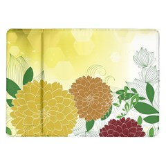Abstract Flowers Sunflower Gold Red Brown Green Floral Leaf Frame Samsung Galaxy Tab 10.1  P7500 Flip Case