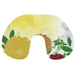 Abstract Flowers Sunflower Gold Red Brown Green Floral Leaf Frame Travel Neck Pillows