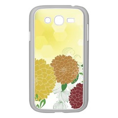 Abstract Flowers Sunflower Gold Red Brown Green Floral Leaf Frame Samsung Galaxy Grand Duos I9082 Case (white)