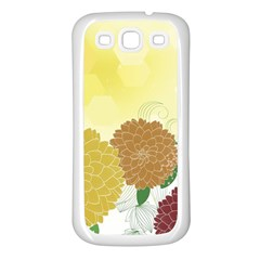 Abstract Flowers Sunflower Gold Red Brown Green Floral Leaf Frame Samsung Galaxy S3 Back Case (White)