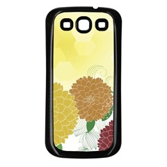 Abstract Flowers Sunflower Gold Red Brown Green Floral Leaf Frame Samsung Galaxy S3 Back Case (Black)