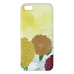 Abstract Flowers Sunflower Gold Red Brown Green Floral Leaf Frame iPhone 5S/ SE Premium Hardshell Case