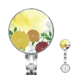 Abstract Flowers Sunflower Gold Red Brown Green Floral Leaf Frame Stainless Steel Nurses Watch