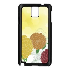 Abstract Flowers Sunflower Gold Red Brown Green Floral Leaf Frame Samsung Galaxy Note 3 N9005 Case (Black)