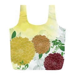 Abstract Flowers Sunflower Gold Red Brown Green Floral Leaf Frame Full Print Recycle Bags (L)
