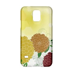 Abstract Flowers Sunflower Gold Red Brown Green Floral Leaf Frame Samsung Galaxy S5 Hardshell Case
