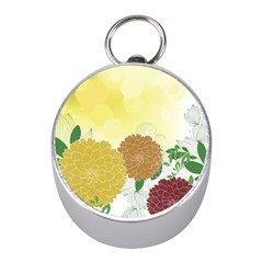 Abstract Flowers Sunflower Gold Red Brown Green Floral Leaf Frame Mini Silver Compasses