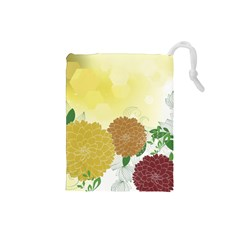 Abstract Flowers Sunflower Gold Red Brown Green Floral Leaf Frame Drawstring Pouches (Small)