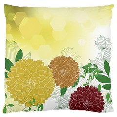 Abstract Flowers Sunflower Gold Red Brown Green Floral Leaf Frame Standard Flano Cushion Case (One Side)
