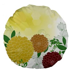 Abstract Flowers Sunflower Gold Red Brown Green Floral Leaf Frame Large 18  Premium Flano Round Cushions