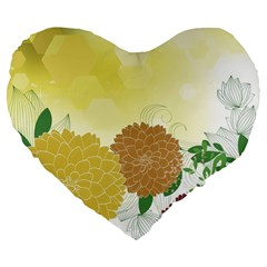 Abstract Flowers Sunflower Gold Red Brown Green Floral Leaf Frame Large 19  Premium Flano Heart Shape Cushions