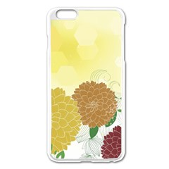 Abstract Flowers Sunflower Gold Red Brown Green Floral Leaf Frame Apple iPhone 6 Plus/6S Plus Enamel White Case