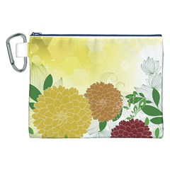 Abstract Flowers Sunflower Gold Red Brown Green Floral Leaf Frame Canvas Cosmetic Bag (XXL)