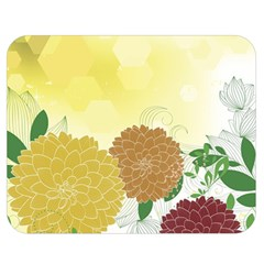 Abstract Flowers Sunflower Gold Red Brown Green Floral Leaf Frame Double Sided Flano Blanket (Medium)