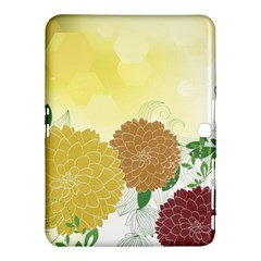 Abstract Flowers Sunflower Gold Red Brown Green Floral Leaf Frame Samsung Galaxy Tab 4 (10.1 ) Hardshell Case