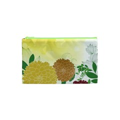 Abstract Flowers Sunflower Gold Red Brown Green Floral Leaf Frame Cosmetic Bag (XS)