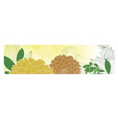 Abstract Flowers Sunflower Gold Red Brown Green Floral Leaf Frame Satin Scarf (Oblong)