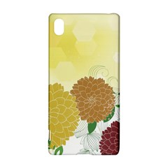 Abstract Flowers Sunflower Gold Red Brown Green Floral Leaf Frame Sony Xperia Z3+