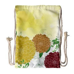 Abstract Flowers Sunflower Gold Red Brown Green Floral Leaf Frame Drawstring Bag (Large)