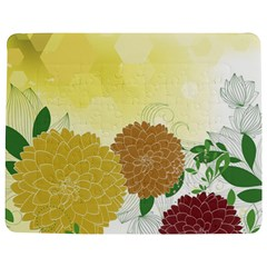 Abstract Flowers Sunflower Gold Red Brown Green Floral Leaf Frame Jigsaw Puzzle Photo Stand (Rectangular)