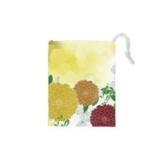 Abstract Flowers Sunflower Gold Red Brown Green Floral Leaf Frame Drawstring Pouches (XS)