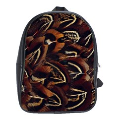 Feathers Bird Black School Bags(Large)