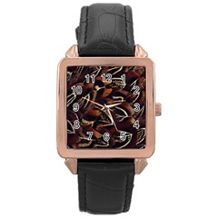 Feathers Bird Black Rose Gold Leather Watch