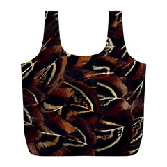 Feathers Bird Black Full Print Recycle Bags (L)