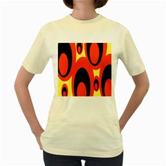 Circle Eye Black Red Yellow Women s Yellow T Shirt