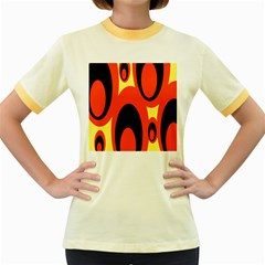 Circle Eye Black Red Yellow Women s Fitted Ringer T-Shirts
