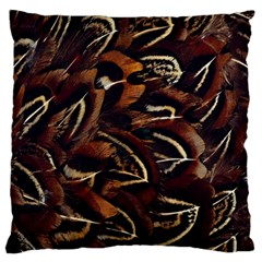Feathers Bird Black Large Flano Cushion Case (One Side)