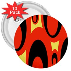 Circle Eye Black Red Yellow 3  Buttons (10 pack)