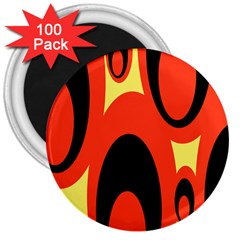 Circle Eye Black Red Yellow 3  Magnets (100 pack)