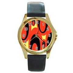 Circle Eye Black Red Yellow Round Gold Metal Watch