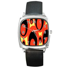 Circle Eye Black Red Yellow Square Metal Watch
