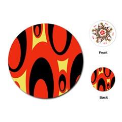 Circle Eye Black Red Yellow Playing Cards (Round)