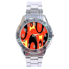 Circle Eye Black Red Yellow Stainless Steel Analogue Watch