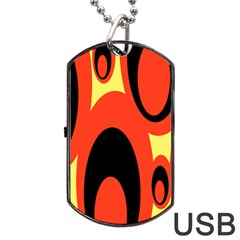 Circle Eye Black Red Yellow Dog Tag USB Flash (One Side)