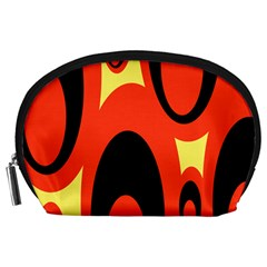 Circle Eye Black Red Yellow Accessory Pouches (large)