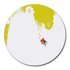 Fish Underwater Yellow White Round Mousepads