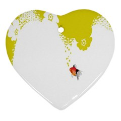 Fish Underwater Yellow White Ornament (heart)