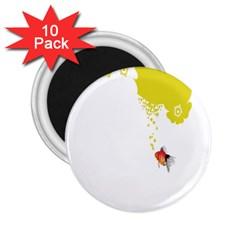 Fish Underwater Yellow White 2.25  Magnets (10 pack)