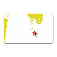 Fish Underwater Yellow White Magnet (Rectangular)