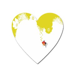 Fish Underwater Yellow White Heart Magnet