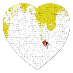 Fish Underwater Yellow White Jigsaw Puzzle (Heart)